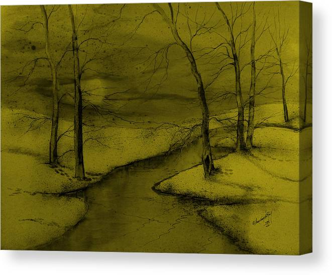 Beautiful Canvas Print featuring the painting Snowed In V by Anna Sandhu Ray