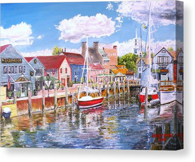 Newport Canvas Print featuring the painting Summer On Bowens, Newport, Rhode Island by Robert Moore