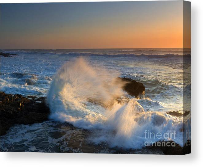 Yachats Canvas Print featuring the photograph Sunset Spray by Mike Dawson