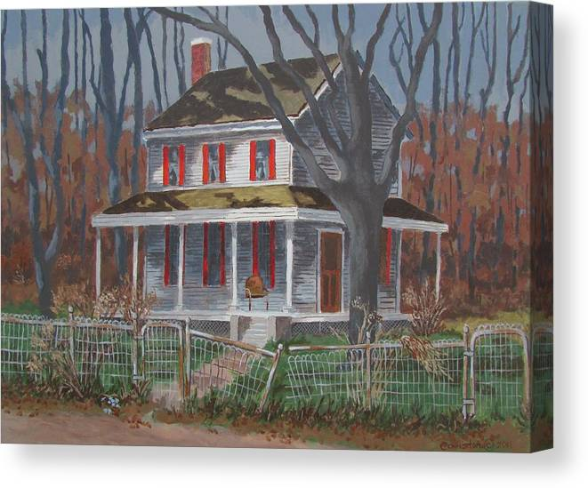 Forgotten Buildings Canvas Print featuring the painting The Empty Chair by Tony Caviston
