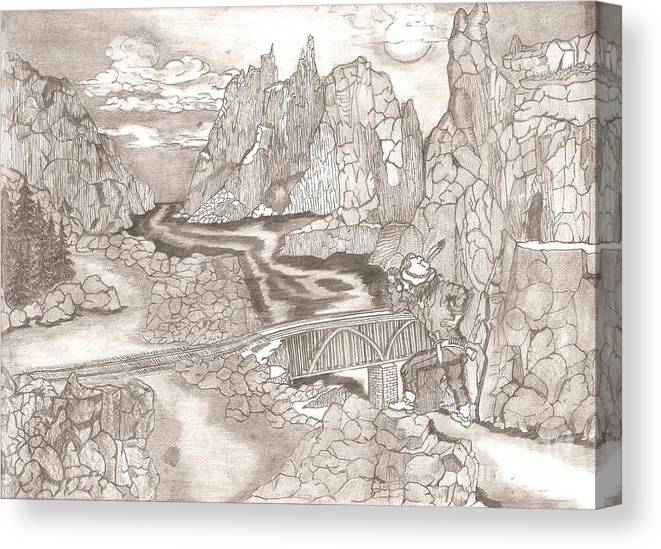 Landscape Canvas Print featuring the drawing The Scout by Garland Bell