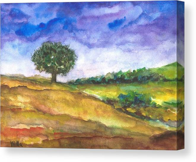 The Tree Canvas Print featuring the painting The Tree by Milla Nuzzoli