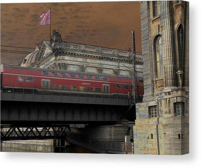 Train Canvas Print featuring the photograph Berlin Train by David Resnikoff