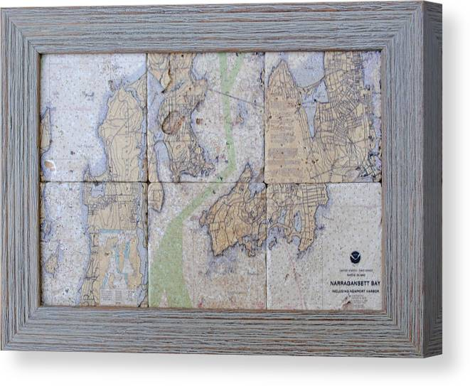 Tumbled Stone Tile Image Canvas Print featuring the mixed media Framed Narragansett Bay Tile Set by P Anthony Visco