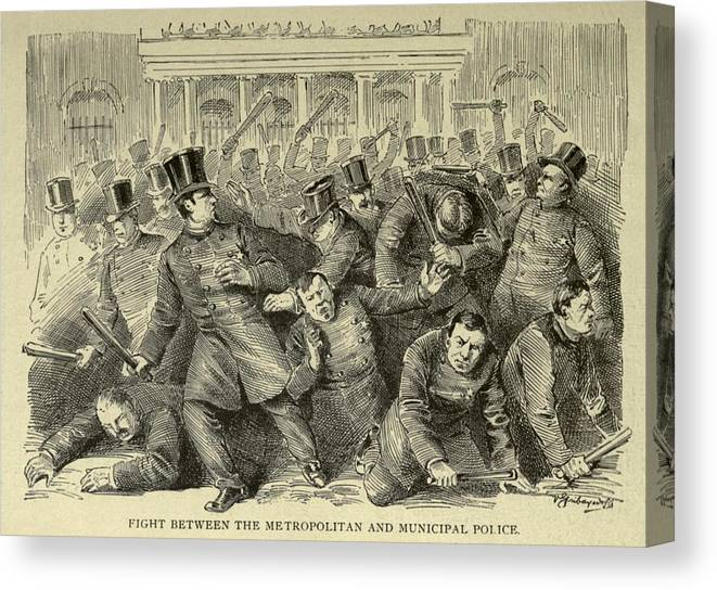 History Canvas Print featuring the photograph New York City Police Riot Of 1857. Riot by Everett