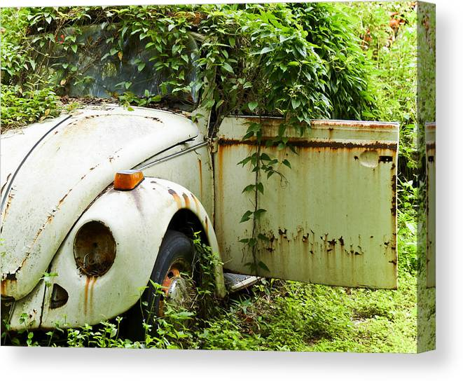 Vw Bug Canvas Print featuring the photograph Outta Here by Carolyn Marshall