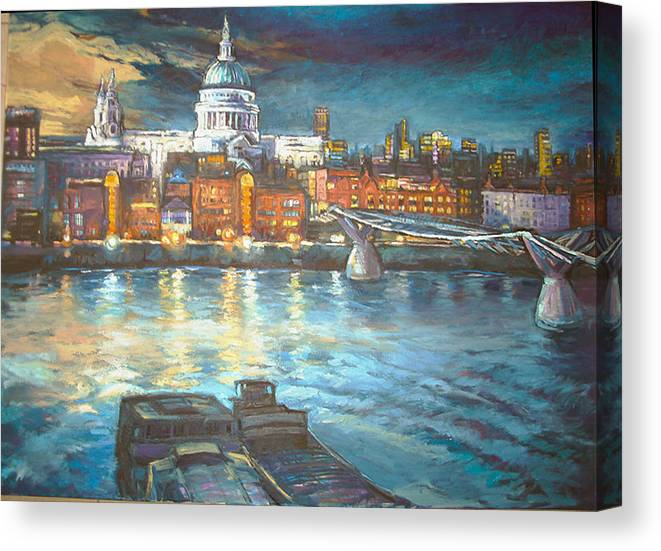 River View Of St Pauls Cathedral Canvas Print featuring the painting St Pauls Cathedral With Millenium Bridge by Patricia Clements