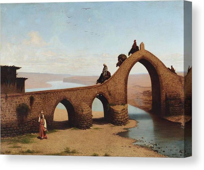 Cesare Biseo (rome 1843-1909 ) Canvas Print featuring the painting Landscape With Bridge by Cesare Biseo