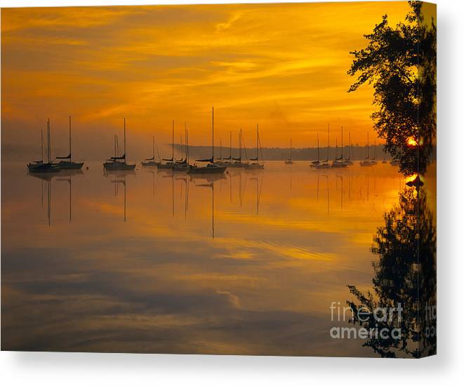 Lake Massabesic Canvas Print featuring the photograph Lake Massabesic - Auburn New Hampshire Usa by Erin Paul Donovan
