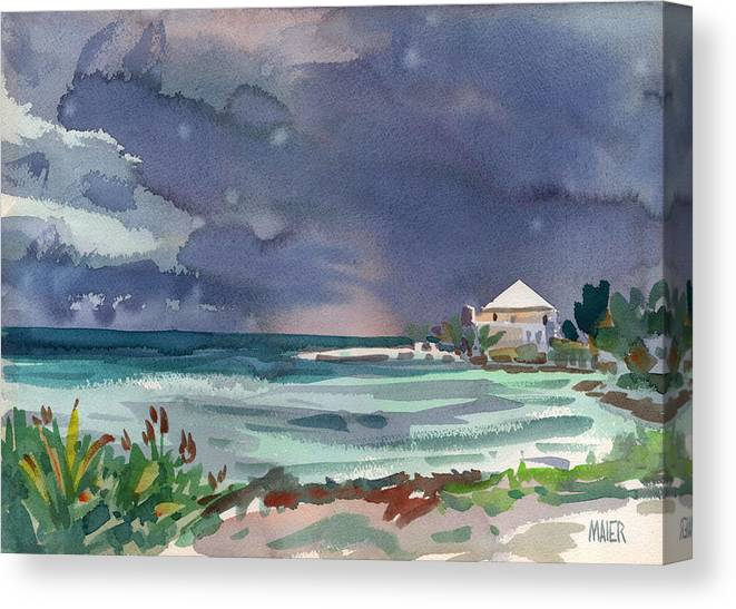 Plein Air Canvas Print featuring the painting Thunderstorm Over Key West by Donald Maier