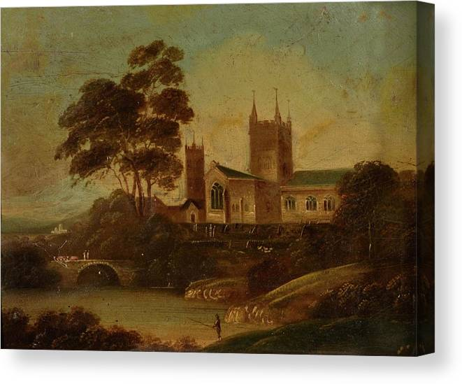 19th Century English School Fishing On The River Canvas Print featuring the painting Fishing On The River by MotionAge Designs