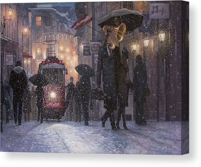 Music Canvas Print featuring the painting A Midwinter Night's Dream by Adrian Borda
