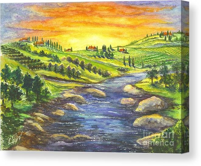 California Canvas Print featuring the painting A Sunset In Wine Country by Carol Wisniewski