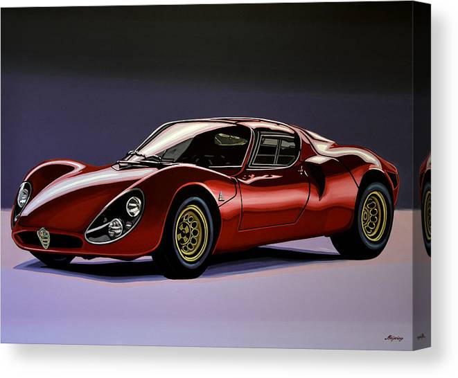 Alfa Romeo 33 Stradale Canvas Print featuring the painting Alfa Romeo 33 Stradale 1967 Painting by Paul Meijering