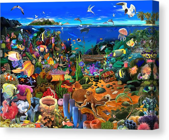 Gerald Newton Canvas Print featuring the digital art Amazing Coral Reef by MGL Meiklejohn Graphics Licensing