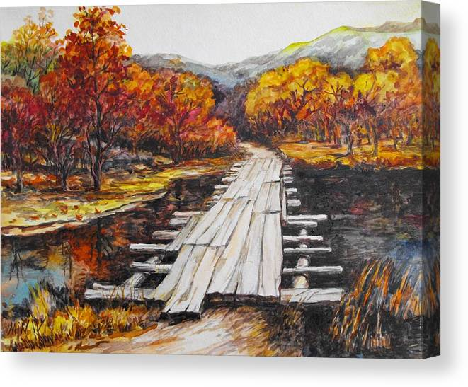 Pond Canvas Print featuring the painting Autumn Crossing by Min Wang