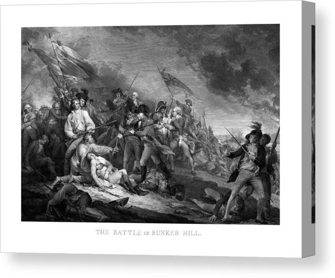 Revolutionary War Canvas Print featuring the mixed media Battle Of Bunker Hill by War Is Hell Store