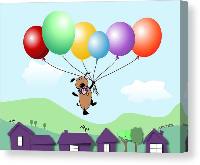 Dog Canvas Print featuring the digital art Billy Above The Rooftops by Arline Wagner