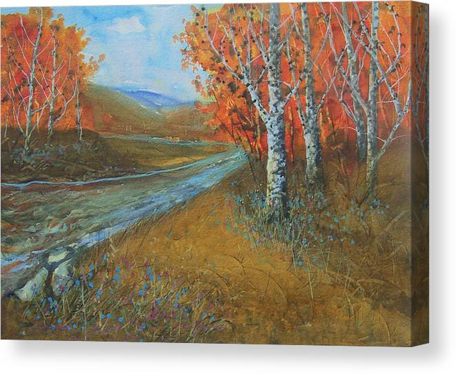 Birch Creek Canvas Print featuring the painting Birch Fall by Robert Harrington