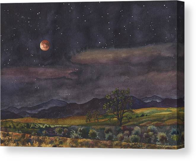 Blood Moon Painting Canvas Print featuring the painting Blood Moon Over Boulder by Anne Gifford