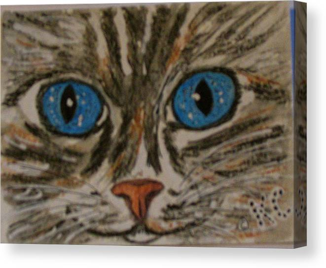 Blue Eyes Canvas Print featuring the painting Blue Eyed Tiger Cat by Kathy Marrs Chandler