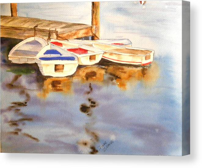 Boats Canvas Print featuring the painting Boats by Diane Ziemski