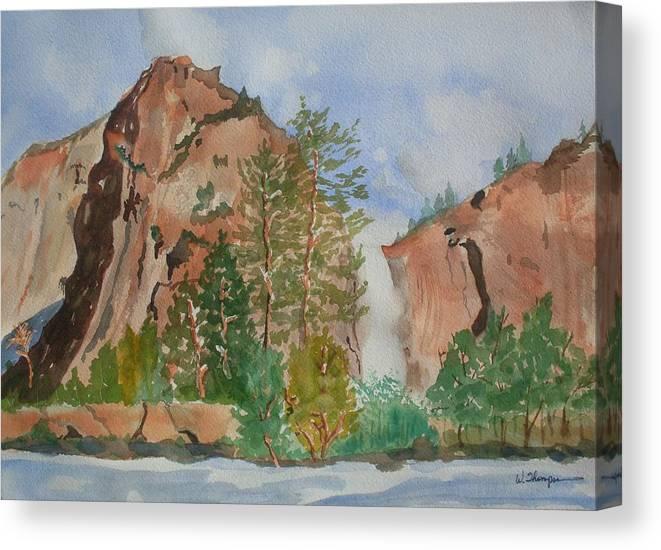 Bridalveil Fall Canvas Print featuring the painting Bridalveil Fall At Yosemite by Warren Thompson