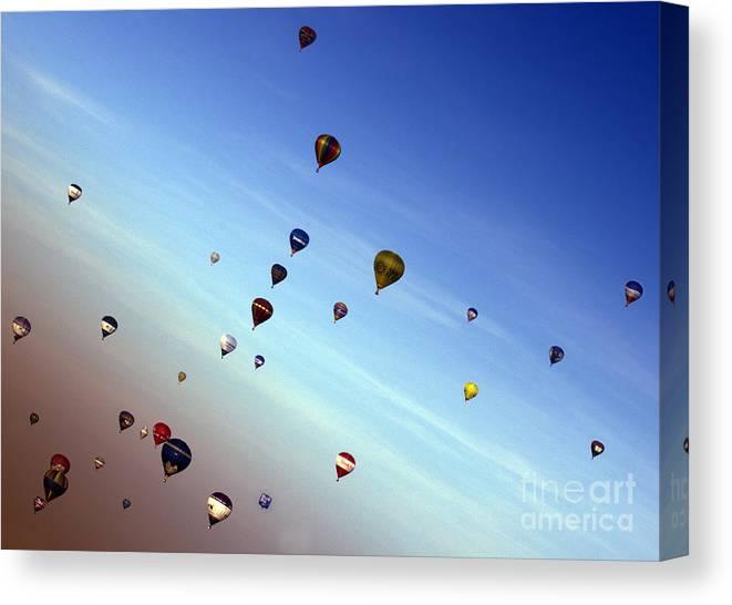 Balloon Fiesta Canvas Print featuring the photograph Bubbles by Angel Ciesniarska