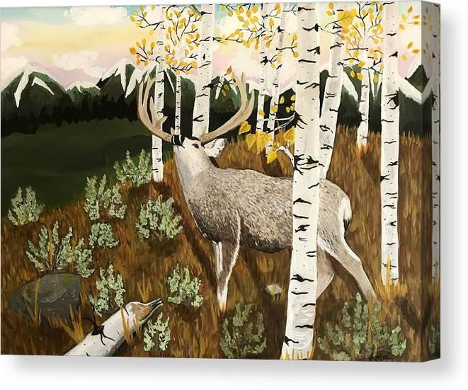 Mule Deer Canvas Print featuring the painting Bugling Mule Deer by Amber Nation