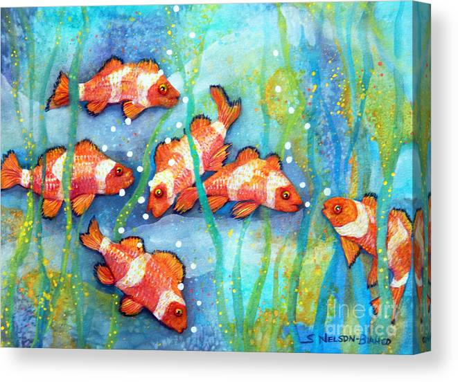 Top Artist Canvas Print featuring the painting Captivating Clown Fish by Sharon Nelson-Bianco