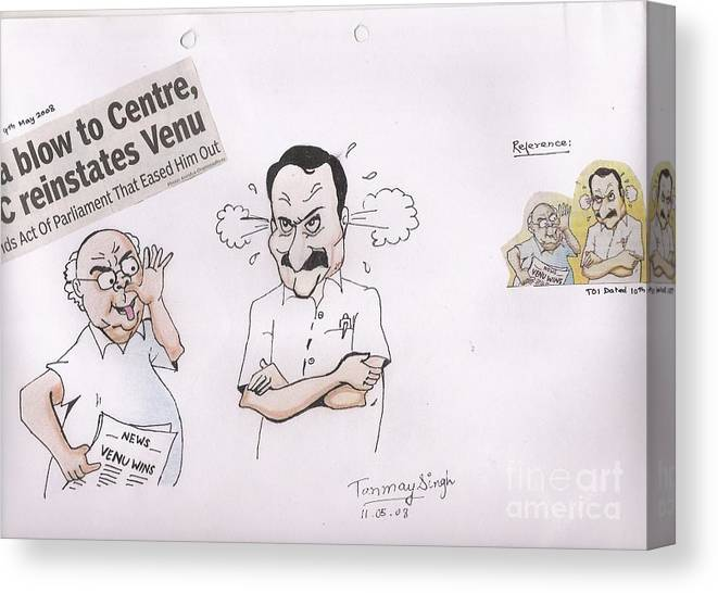 Indian Politician Drawing Canvas Print featuring the painting Cartoon by Tanmay Singh