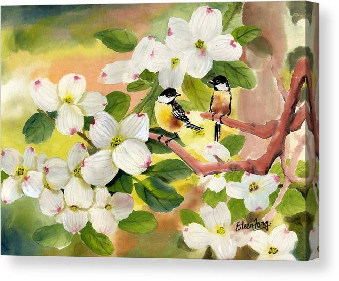 Chickadees Canvas Print featuring the painting Chickadees In The Dogwood Tree by Eileen Fong