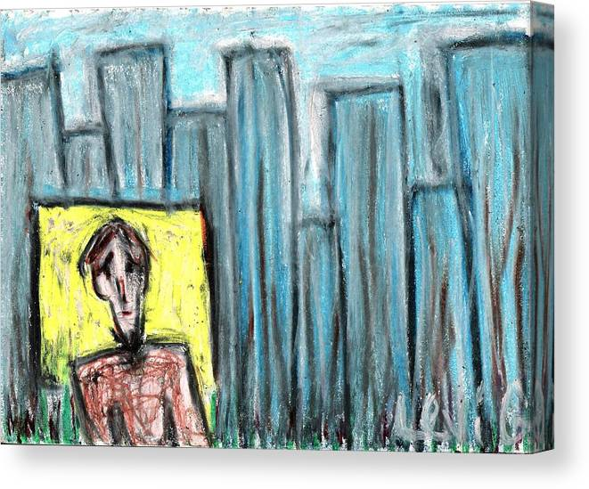 Blue Canvas Print featuring the pastel City Roots by Levi Glassrock