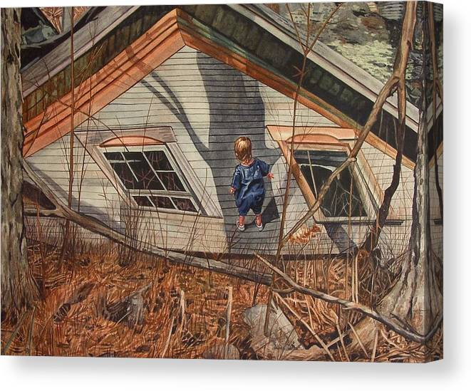 Children Canvas Print featuring the painting Collapsed by Valerie Patterson