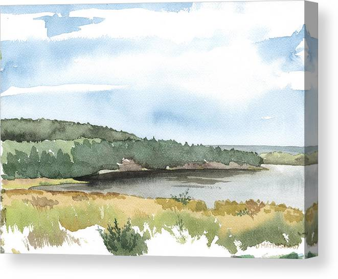 Lake Canvas Print featuring the painting Colyer Lake by Jeff Mathison
