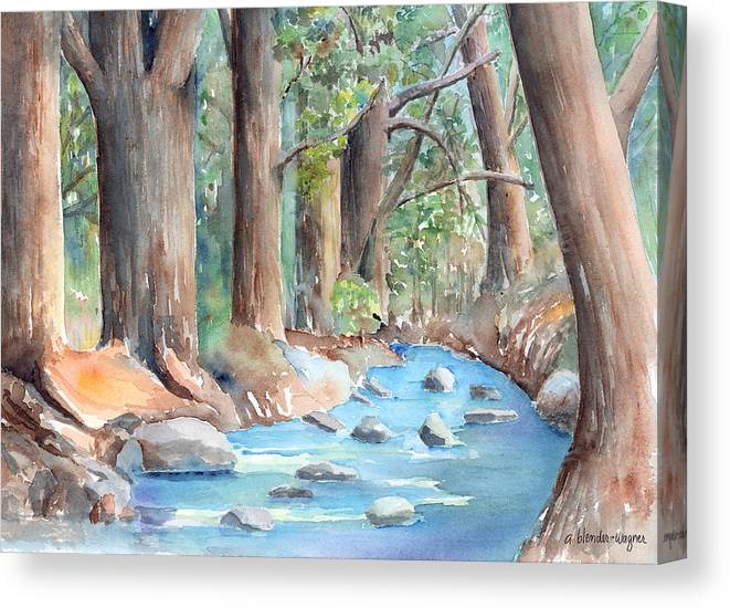 Creek Canvas Print featuring the painting Creek In The Woods by Arline Wagner