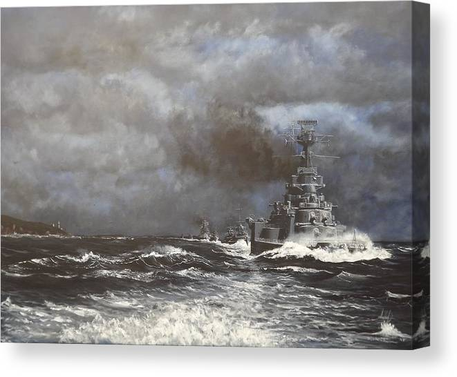 Hms Canvas Print featuring the painting ' Destiny Calling ' , Hms Hood by Graham M'turfersee