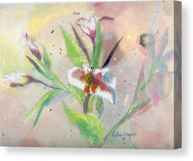 Flower Canvas Print featuring the painting Faded Lilies by Arline Wagner