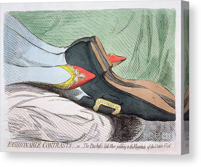 Fashionable Canvas Print featuring the painting Fashionable Contrasts by James Gillray
