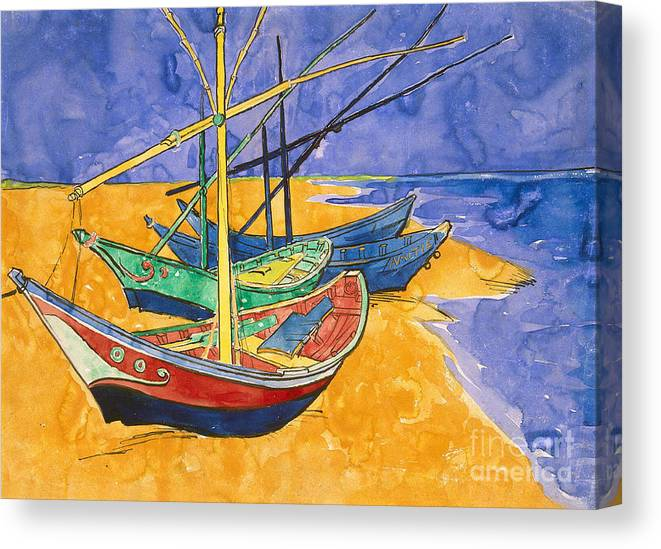 Fishing Canvas Print featuring the painting Fishing Boats On The Beach At Saintes Maries De La Mer by Vincent Van Gogh