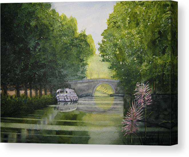 Landscape Canvas Print featuring the painting French Canal by Shirley Braithwaite Hunt
