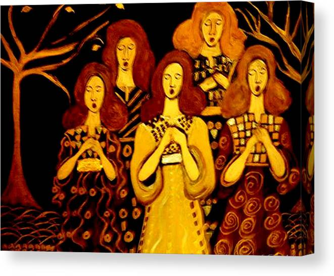 Choir Canvas Print featuring the painting Golden Chords by Rusty Gladdish