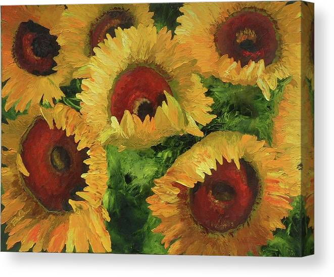 Sunflowers Canvas Print featuring the painting Grand Opening by Barbara Auito