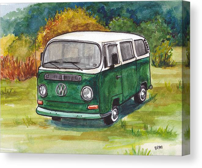 Vw Canvas Print featuring the painting Green Vw Bus by Clara Sue Beym