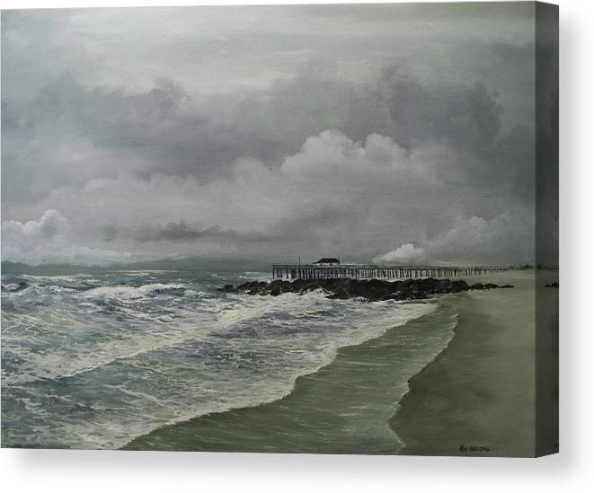 Seascape. Ocean Canvas Print featuring the painting Grey Day At Ocean Grove by Ken Ahlering