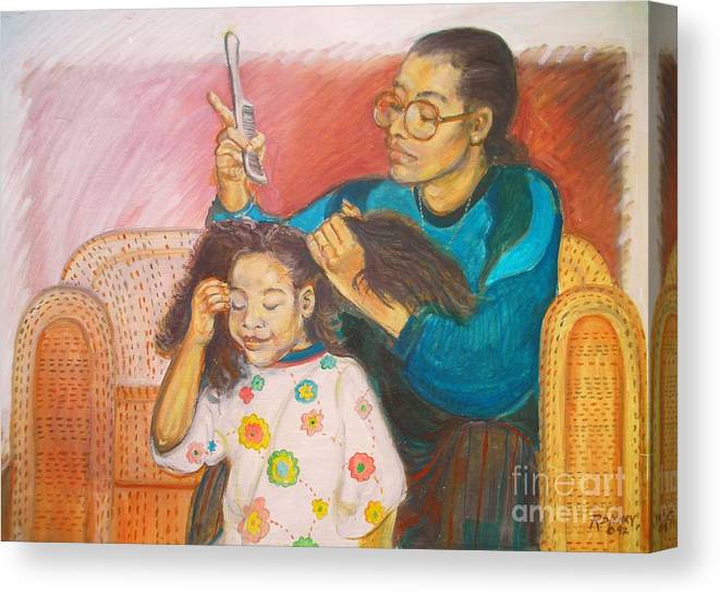 Mother Canvas Print featuring the painting Hair by Rupert Henry