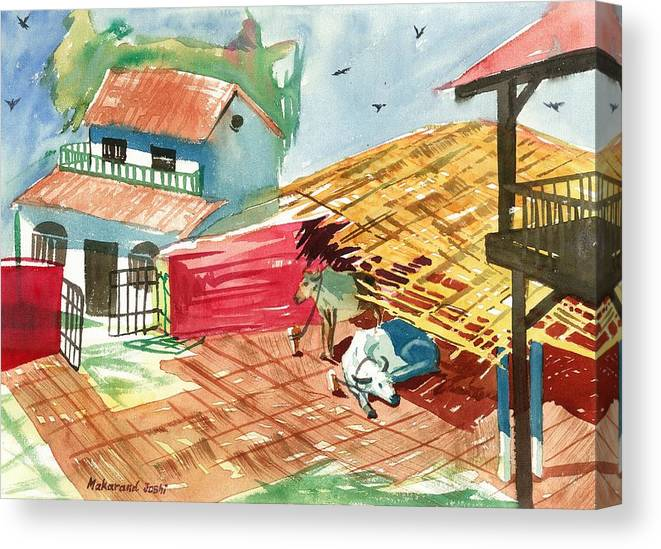 Makarand Joshi Canvas Print featuring the painting A Back Yard With A Cow Shade And A Cow And A Calf by Makarand Joshi