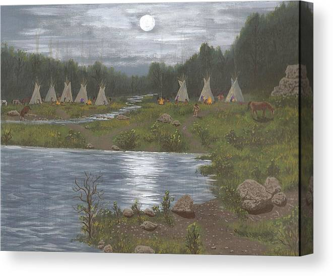 Indians Canvas Print featuring the painting Indian Camp by Don Lindemann