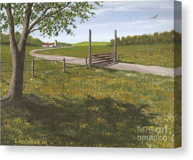 Kansas Canvas Print featuring the painting Kansas Farm by Don Lindemann