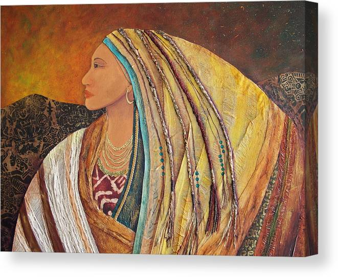 Collage Canvas Print featuring the pastel Lady Of The Mountains by Candy Mayer